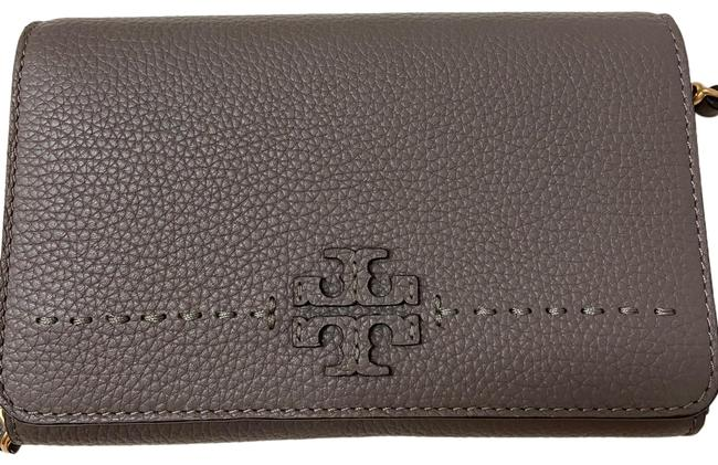 Tory Burch Mcgraw Flat Wallet Silver Maple Leather Cross Body Bag Tory Burch Mcgraw Flat Wallet Silver Maple Leather Cross Body Bag Image 1