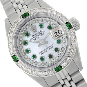 Rolex WOMENS ROLEX DATEJUST MOTHER OF PEARL DIAMOND & EMERALD WATCH