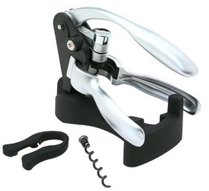 Black Silver Box Corkscrew Quality Wine Bottle Opener with Foil Cutter Barware