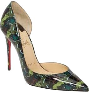 Christian Louboutin Heels Iriza D'orsay Alligator Black/Green Pumps