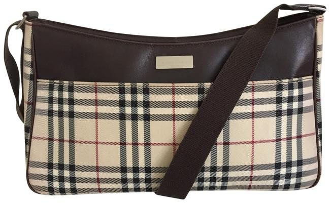 Item - Check Trim Beige Brown Canvas and Leather Cross Body Bag