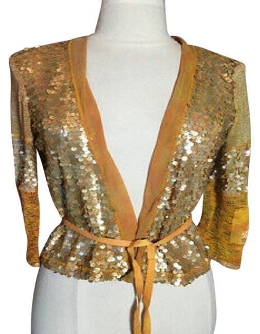 Item - Mustard Yellow Gold Sequin Sweater Cardigan Size 8 (M)