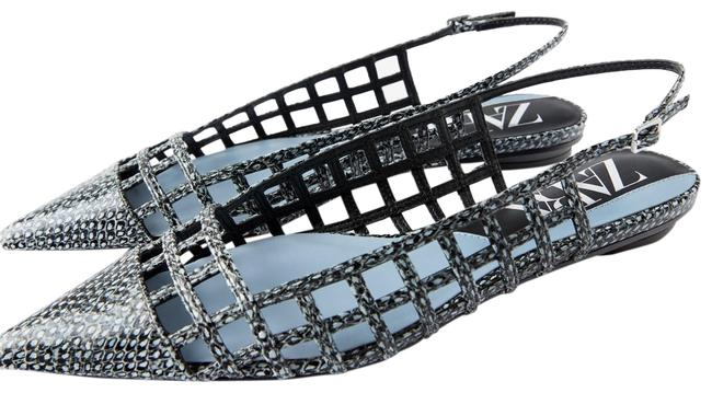 Item - Blue Animal Snake Skin Print Cutwork Slingback Ballet Blue/Black 7.5/38 Bn. Flats Size US 7.5 Regular (M, B)