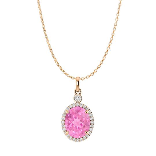 Preload https://img-static.tradesy.com/item/27634414/pink-rose-oval-sapphire-cz-halo-pendant-gold-vermeil-necklace-0-0-540-540.jpg
