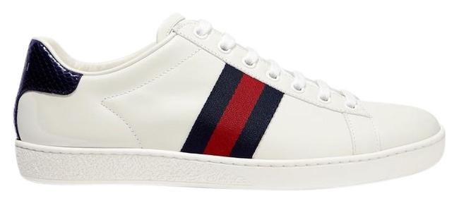 Item - White Ace Watersnake and Canvas-trimmed Leather Sneakers Size EU 38 (Approx. US 8) Regular (M, B)