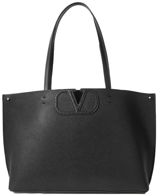 Valentino Fill Me Small Textured-leather Black Leather Tote Valentino Fill Me Small Textured-leather Black Leather Tote Image 1
