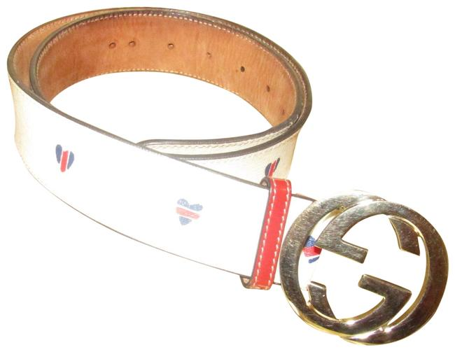 Item - Grey G Logo/Red/Blue Hearts Limited Edition ssima/Heart Print Belt
