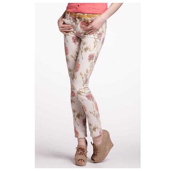 Item - Cream Green Coral Pilcro and The Letterpress Floral Skinny Jeans Size 8 (M, 29, 30)