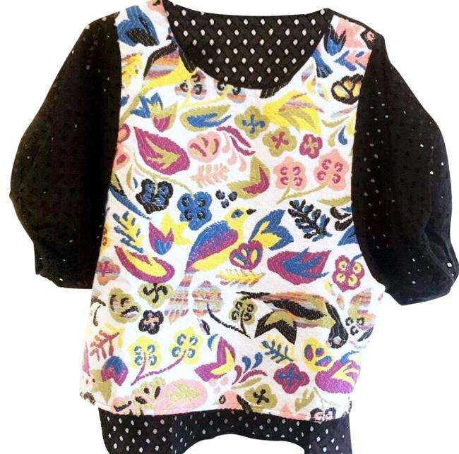 Item - Black Embroidered Puff Sleeve Blouse Size 8 (M)
