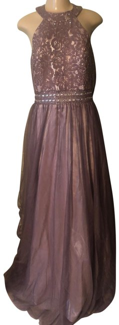 Item - Taupe Lilac Gown Long Formal Dress Size 12 (L)