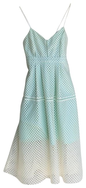 Item - Green/Ivory Na Mid-length Short Casual Dress Size Petite 2 (XS)