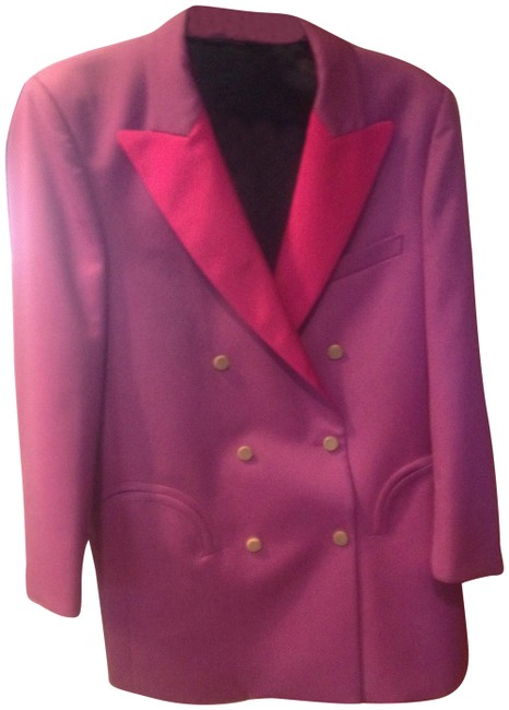 Item - Lilac with Hot Pink Wool Silk Lapels Blazer Size 10 (M)