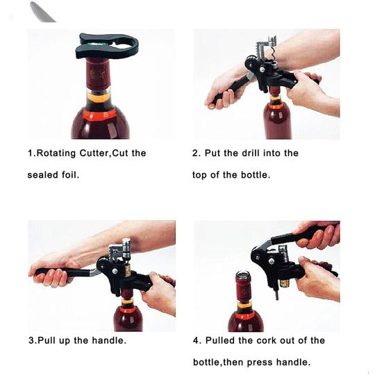 Black / Silver Box - Rabbit Style Corkscrew Quality Wine Bottle Opener with Foil Cutter Barware