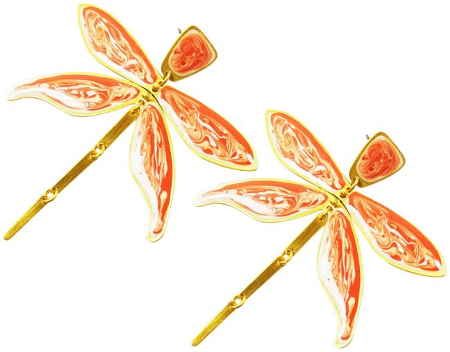 Item - Multicolor Gold Plated Hand Painted Enamel Dragonfly Earrings