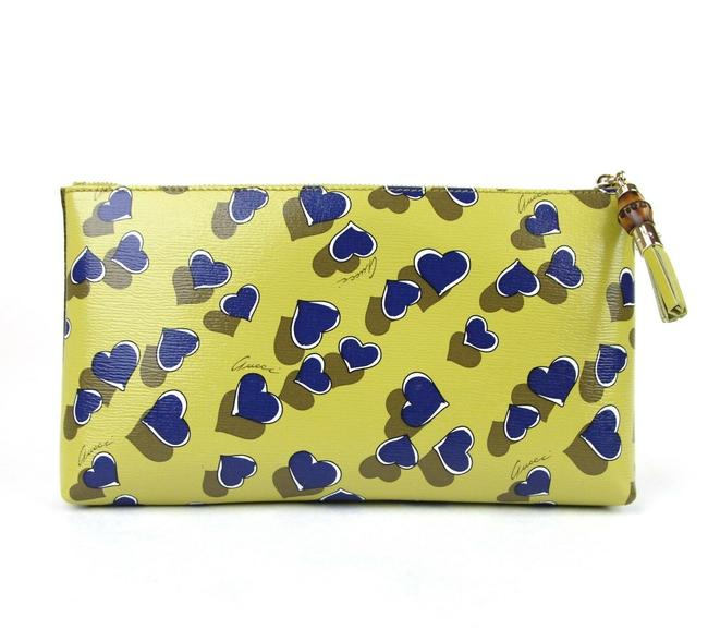 Item - Heartbeat Pouch W/Bamboo Large 338815 Yellow 7309 Leather Clutch