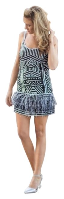 Item - Black and White Hayden Sequin Art Deco Short Night Out Dress Size 2 (XS)