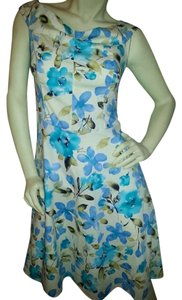 Connected Apparel short dress blue floral on white Fit & Flair Stretch on Tradesy