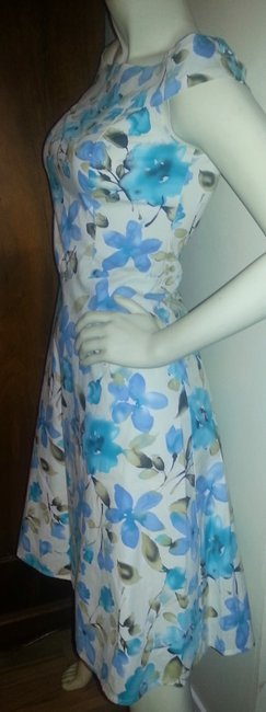 Connected Apparel short dress blue floral on white Fit & Flair Cotton Stretch Teals Wedding Off Shoulder on Tradesy