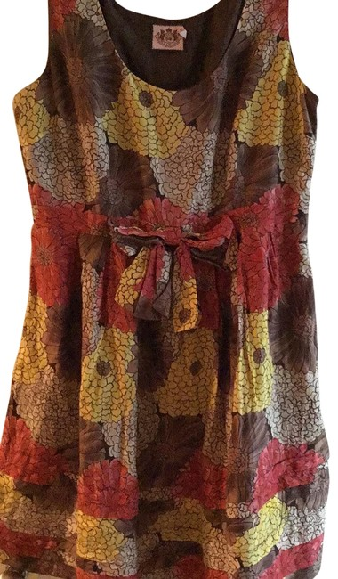 Item - Brown/Yellow/Orange Short Casual Dress Size 6 (S)