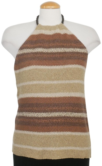 Item - L Linen Silk Textured Knit Stripe Halter Brown Multi Sweater