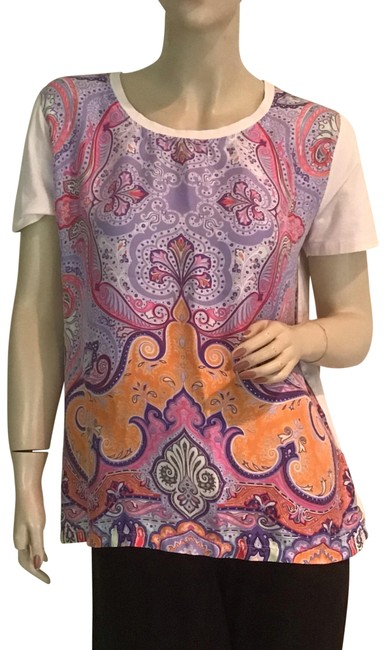 Item - Blue. Pink Orange Colorful Paisley Silk 48 Tee Shirt Size 12 (L)