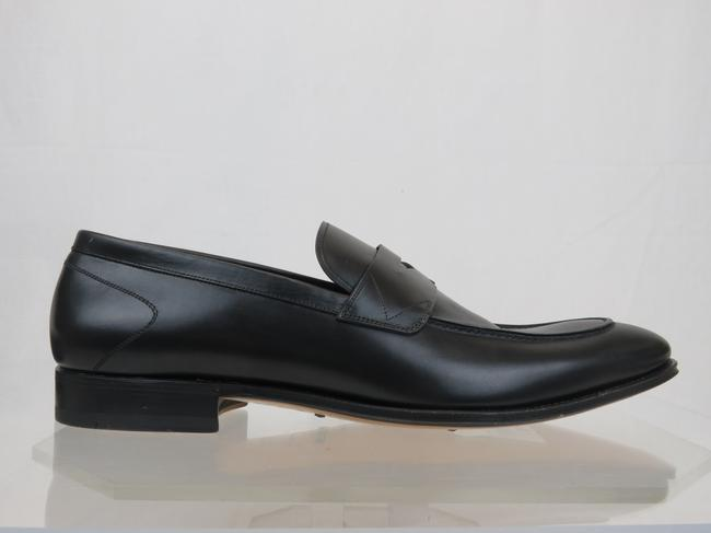 Item - Black Mens Leather Dress Logo Classic Penny Loafers 45 / 12 Shoes