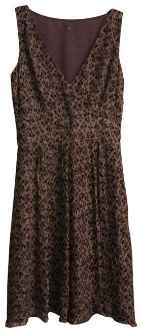 Item - Brown Silk Mid-length Short Casual Dress Size 6 (S)