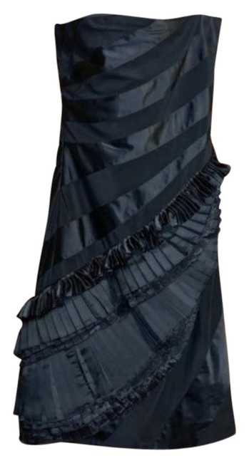 Item - Black Strapless Layered Ruffle Silk Short Formal Dress Size 4 (S)