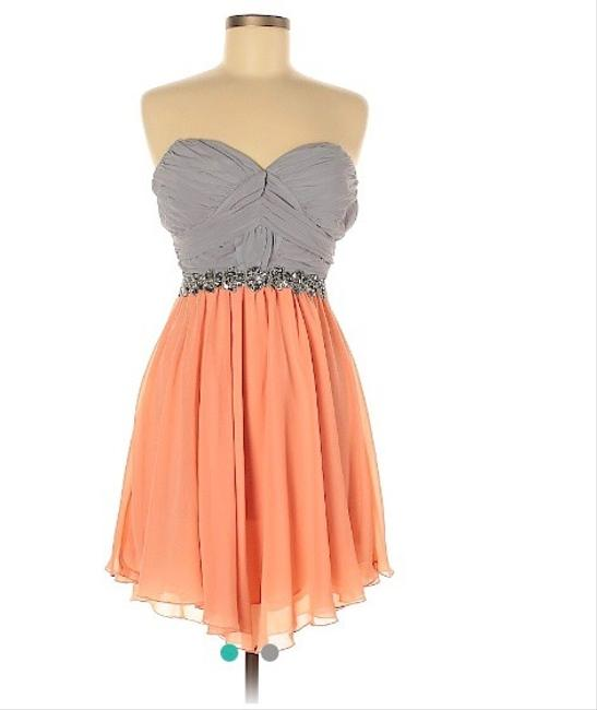 Item - Peach & Grey Short Cocktail Dress Size 8 (M)