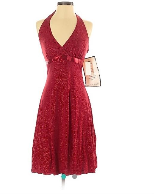Item - Red Halter Sparkle Party Mid-length Cocktail Dress Size 4 (S)