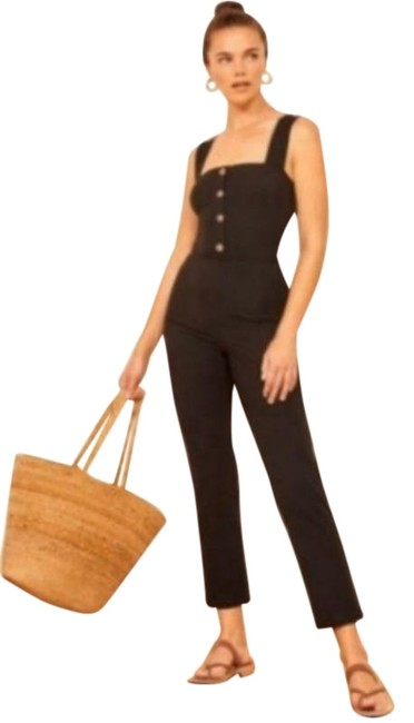Reformation Black XL Landry Sleeveless Ribbed Button Front Size Romper/Jumpsuit Reformation Black XL Landry Sleeveless Ribbed Button Front Size Romper/Jumpsuit Image 1