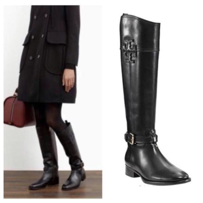 Tory Burch Black Blaire Low Heel Leather Logo Knee High Tall Riding Boots/Booties Size US 9 Regular (M, B) Tory Burch Black Blaire Low Heel Leather Logo Knee High Tall Riding Boots/Booties Size US 9 Regular (M, B) Image 1