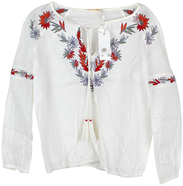 Tory Burch New Ivory Embroidered Cotton Peasant Blouse Size 0 (XS) Tory Burch New Ivory Embroidered Cotton Peasant Blouse Size 0 (XS) Image 1