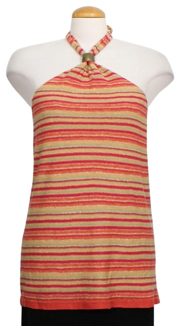 Item - Red Orange Multi L Metallic Stripe Linen Halter Sweater Blouse Size 12 (L)