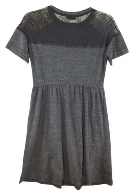 Item - Gray Lace Inset Sleeves Mid-length Short Casual Dress Size 4 (S)