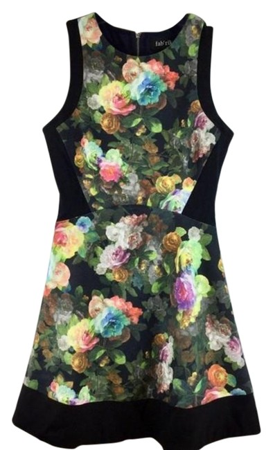 Item - Black& Yellow Floral Print Sleeveless Mid-length Short Casual Dress Size 6 (S)