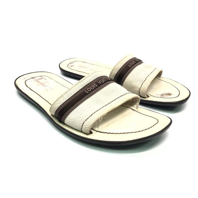 Item - Beige Mens White Cloth / Leather with Logo Sandals Size US 8 Regular (M, B)