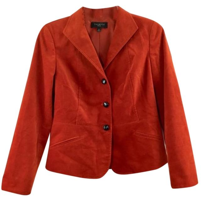 Talbots Orange Velvet Three Button Long Sleeves 4p Jacket Size Petite 4 (S) Talbots Orange Velvet Three Button Long Sleeves 4p Jacket Size Petite 4 (S) Image 1