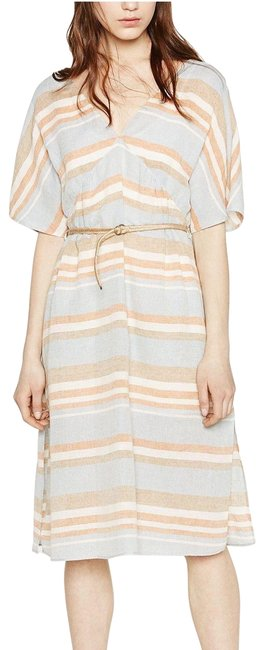 Item - Multicolor Linen Blue Copper Striped V Neck Sleeves A Line Pullover Shift Mid-length Short Casual Dress Size 4 (S)
