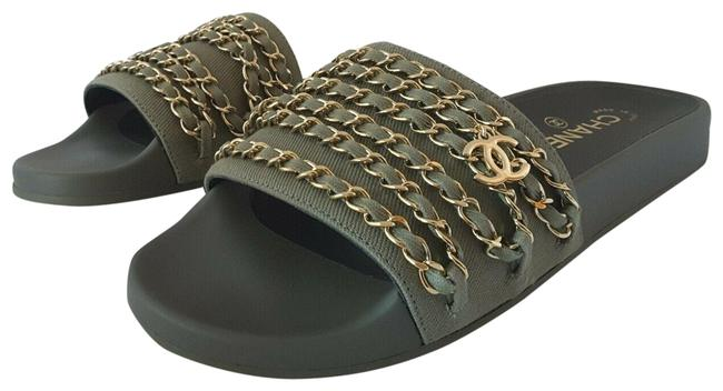 Item - Green Tropiconic Chain Sandals Fabric Mules/Slides Size EU 38 (Approx. US 8) Regular (M, B)