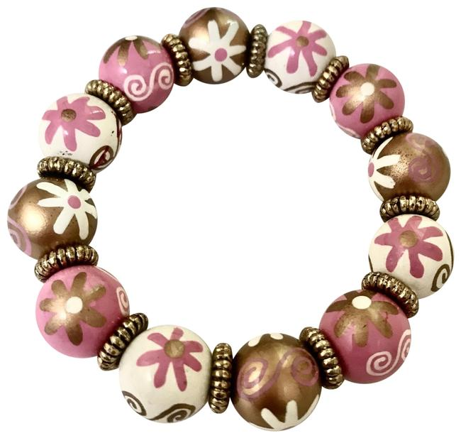 Item - Gold Pink White New Hand Painted Multicolor Classic Bead Bracelet