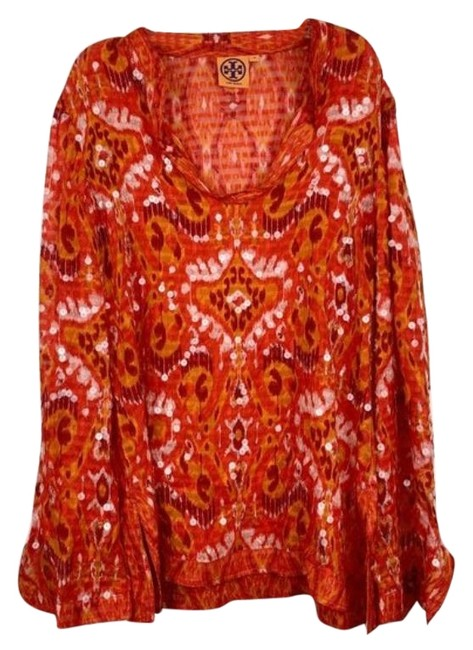 Item - Red & Orange Abstract Sequin Embellished Tunic Blouse Size 10 (M)