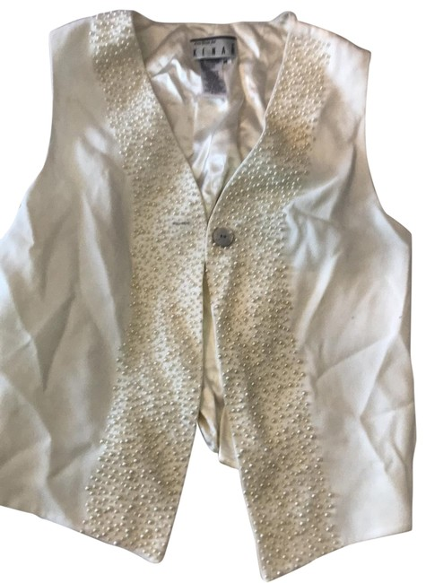 Item - Vest with Pearl Decoration Halter Top Size 8 (M)
