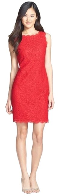 Item - Red Boatneck Lace Sheath Mid-length Cocktail Dress Size 6 (S)