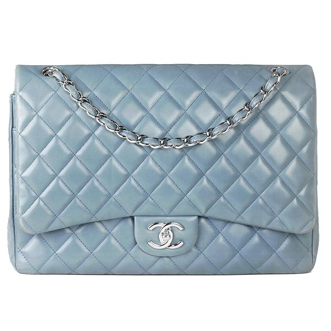 Item - Classic Flap Maxi Shw Slate-blue Lambskin Leather Shoulder Bag