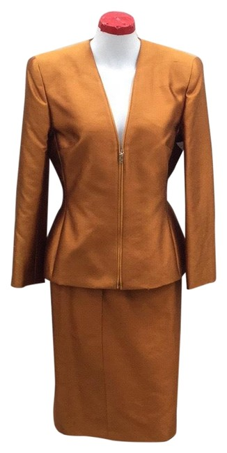 Item - Orange Metallic Vintage 2-piece Skirt Suit Size 10 (M)