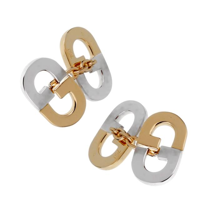 Item - Yellow Gold Vintage Gg Two Tone Cufflinks 1299