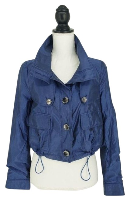 Item - Blue Silk Blend Cropped Jacket Size 4 (S)
