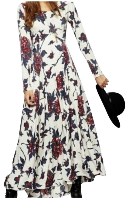 Item - Cream Navy and Red First Kiss Long Casual Maxi Dress Size 4 (S)