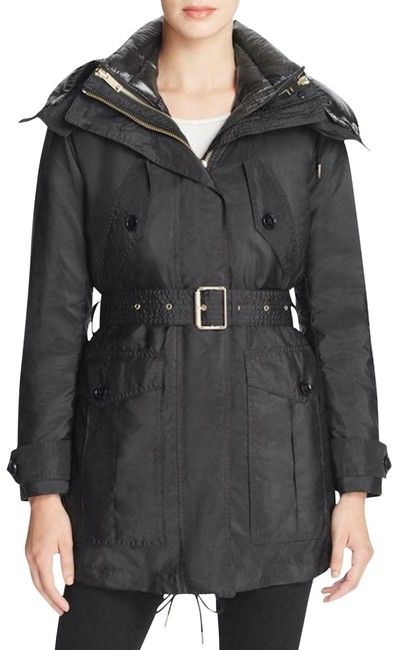 Item - Black Chevrington Hooded Belted Jacket Parka Us Eu 40 Coat Size 6 (S)